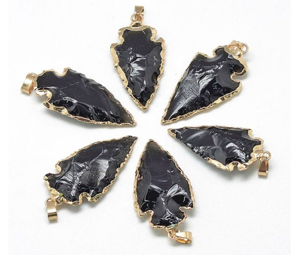 Arrowhead Pendant, Smoky Quartz, 25-50mm