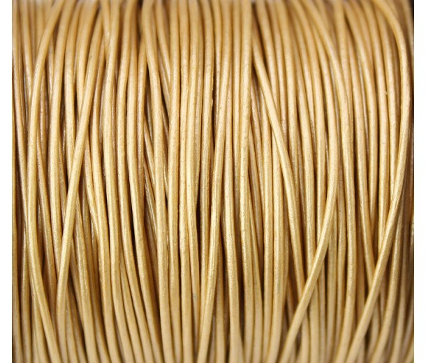 0.5mm Metallic Light Gold Round Leather Cord, Sold by Yard