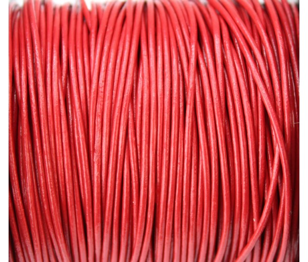 1mm Bright Red Round Leather Cord, Sold by Yard