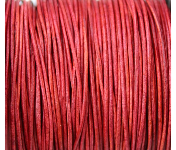 1mm Matte Red Round Leather Cord