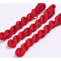 1mm Chinese Knotting Cord, Bright Red, 24 Meter Bundle