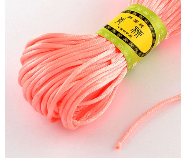 2mm Satin Rattail Cord, Neon Coral, 20 Meter Bundle