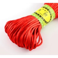 2mm Satin Rattail Cord, Bright Red, 20 Meter Bundle