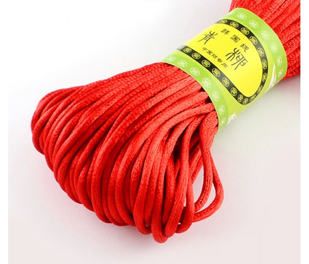 2mm Satin Rattail Cord, Bright Red, 20 Meter Bundle