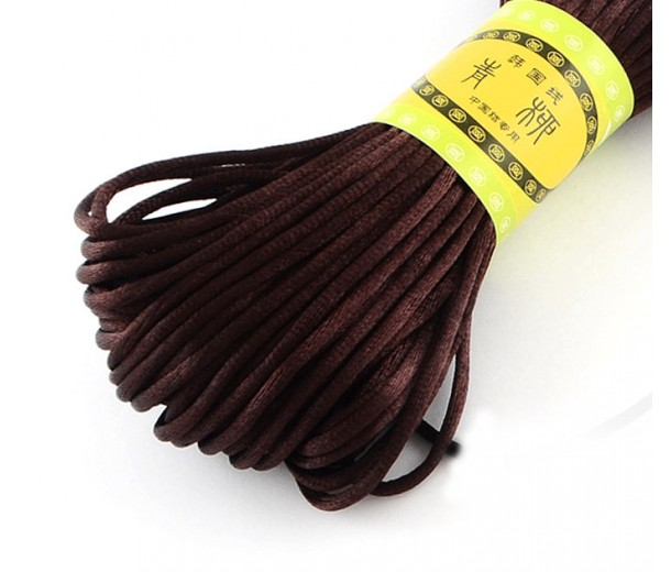 2mm Satin Rattail Cord, Brown, 20 Meter Bundle