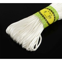 2mm Satin Rattail Cord, White, 20 Meter Bundle