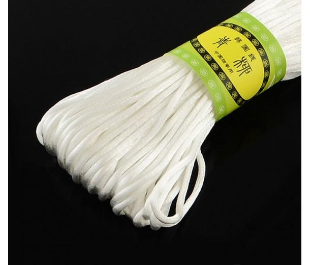 2mm Satin Rattail Cord, White, 20 Meter Bundle