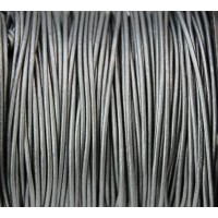 1mm Metallic Grey Round Leather Cord, Sold by Yard