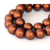 Matte Copper Czech Glass Beads, 10mm Round