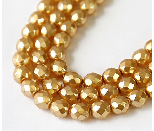 Bright Gold Pearl Czech Glass Beads, 8mm Faceted Round