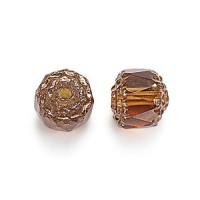 Honey Picasso Czech Glass Beads, 6mm Renaissance