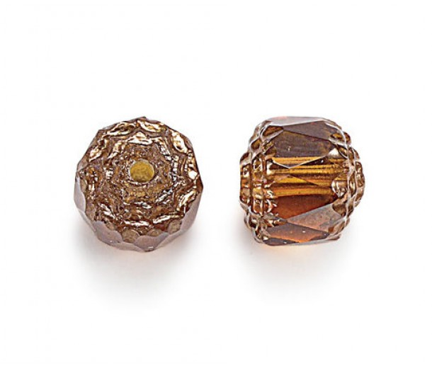 Honey Picasso Czech Glass Beads, 6mm Renaissance