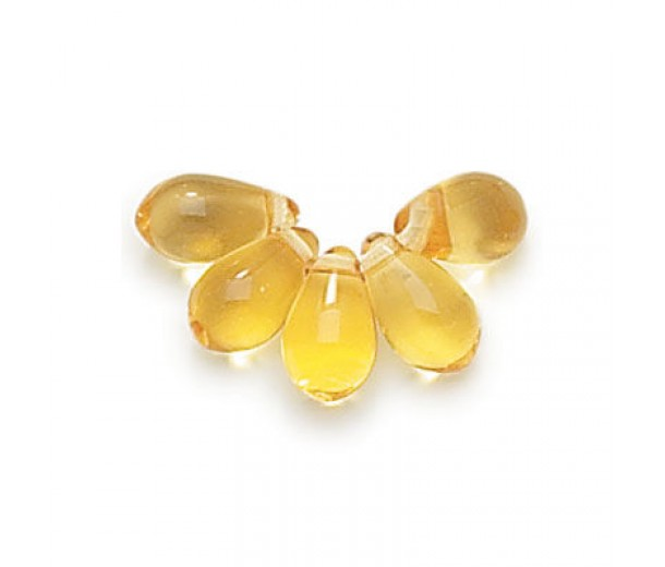 Light Amber Czech Glass Beads, 9x6mm Teardrop, Pack of 50
