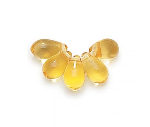 Light Amber Czech Glass Beads, 9x6mm Teardrop