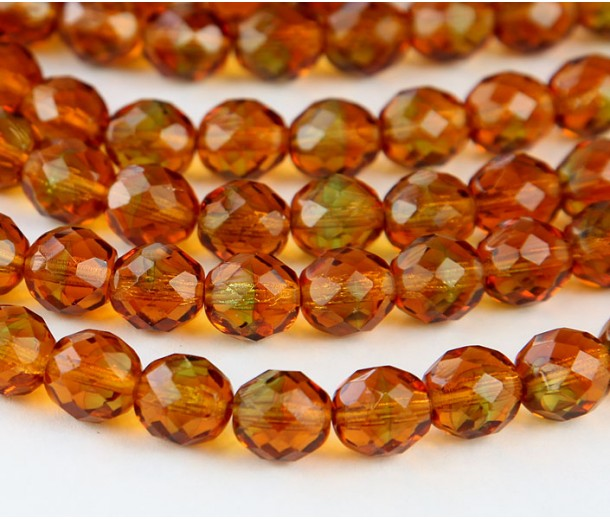 Topaz Czech Glass Beads, 10mm Faceted Round