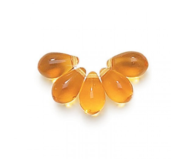 Topaz Czech Glass Beads, 9x6mm Teardrop, Pack of 50