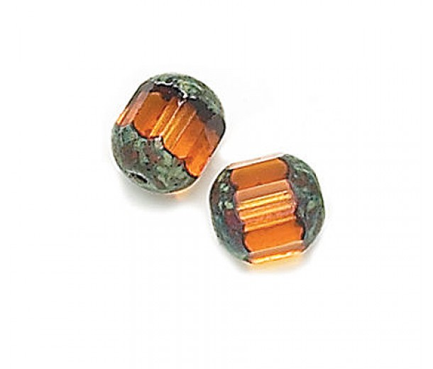 Topaz Picasso Czech Glass Beads, 8mm Renaissance