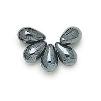 Hematite Czech Glass Beads, 9x6mm Teardrop, Pack of 50