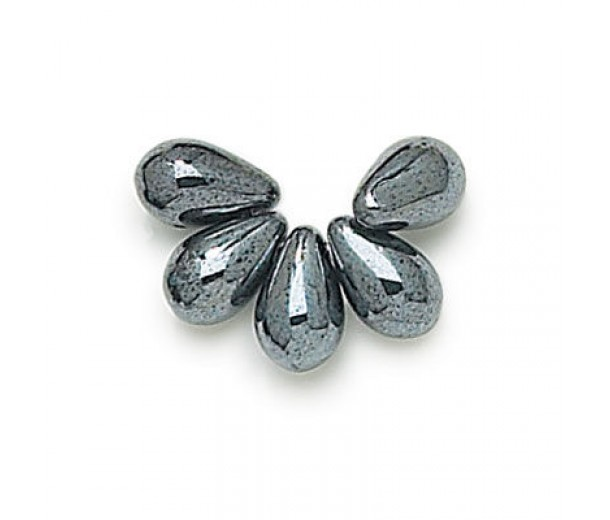 Hematite Czech Glass Beads, 9x6mm Teardrop