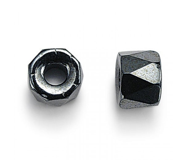 Hematite Czech Glass Beads, 9mm Faceted Pony, Pack of 25