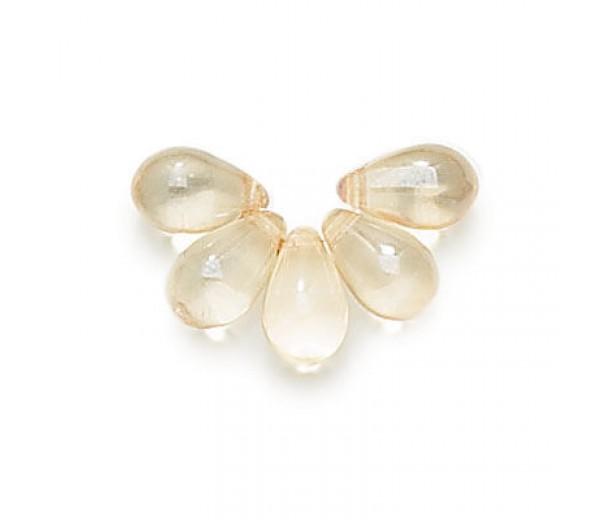 Champagne Czech Glass Beads, 9x6mm Teardrop