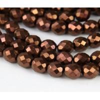 Dark Bronze Czech Glass Beads, 10mm Faceted Round
