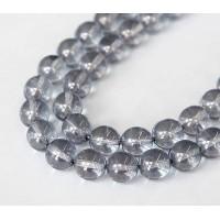 Transparent Blue Luster Czech Glass Beads, 10mm Round