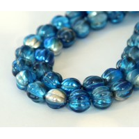 Capri Silver Coated Czech Glass Beads, 8mm Melon Round
