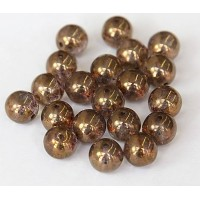 Transparent Gold Smoked Topaz Luster Czech Glass Beads, 10mm Round