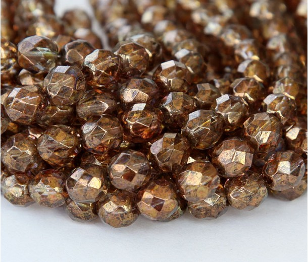 25 Smoky Topaz Czech Firepolished Faceted Round Glass Beads 8mm