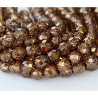 Transparent Gold Smoked Topaz Luster Czech Glass Beads, 8mm Faceted Round