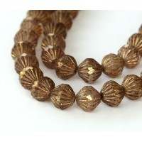 Transparent Gold Smoked Topaz Luster Czech Glass Beads, 9mm Fluted