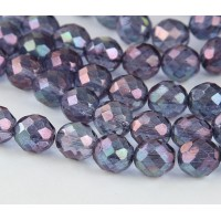 Transparent Amethyst Luster Czech Glass Beads, 8mm Faceted Round