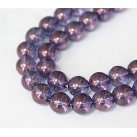 Transparent Amethyst Luster Czech Glass Beads, 10mm Round