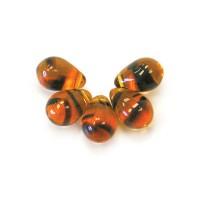 Tortoise Shell Czech Glass Beads, 9x6mm Teardrop