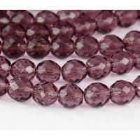 Light Amethyst Czech Glass Beads, 10mm Faceted Round