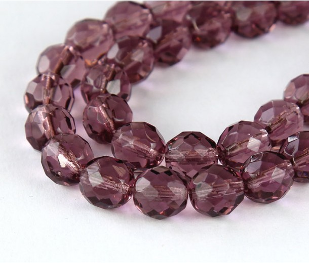 Light Amethyst Czech Glass Beads, 10mm Faceted Round