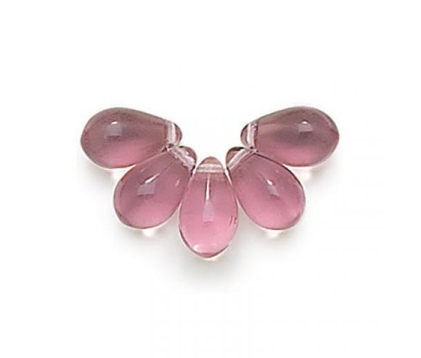 Light Amethyst Czech Glass Beads, 9x6mm Teardrop