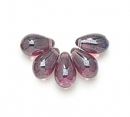 Amethyst Luster Czech Glass Beads, 9x6mm Teardrop