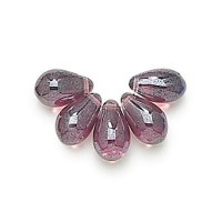 Amethyst Shimmer Czech Glass Beads, 9x6mm Teardrop, 2.75 Inch Tube
