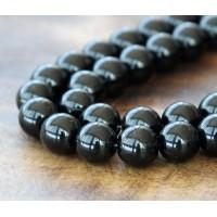 Jet Czech Glass Beads, 10mm Round