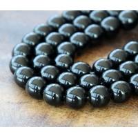 Jet Czech Glass Beads, 8mm Round