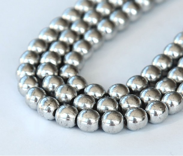 Silver Czech Glass Beads, 4mm Round