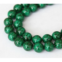 Opaque Stone Emerald Czech Glass Beads, 10mm Round, Pack of 25