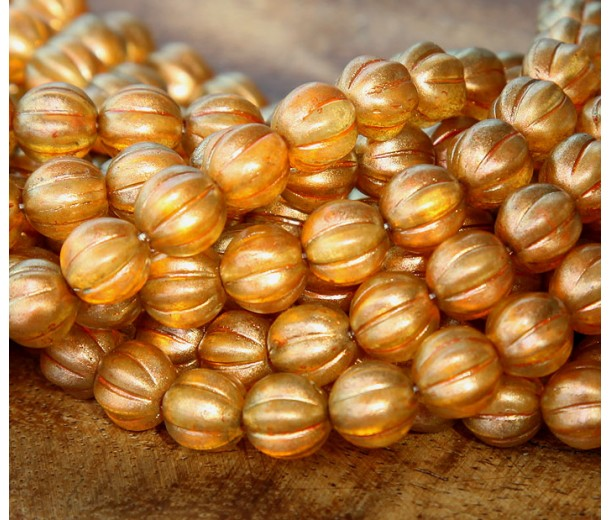 Sandalwood Halo Czech Glass Beads, 8mm Melon Round