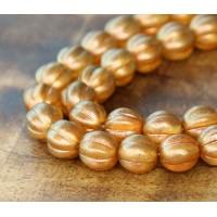Sandalwood Halo Czech Glass Beads, 8mm Melon Round