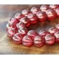 Cardinal Halo Czech Glass Beads, 8mm Melon Round