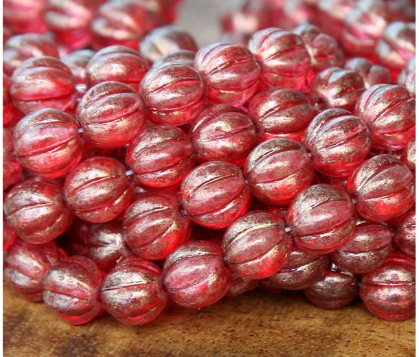 Cardinal Halo Czech Glass Beads, 8mm Melon Round