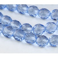 Light Sapphire Czech Glass Beads, 10mm Faceted Round