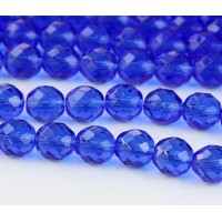 Sapphire Blue Czech Glass Beads, 10mm Faceted Round